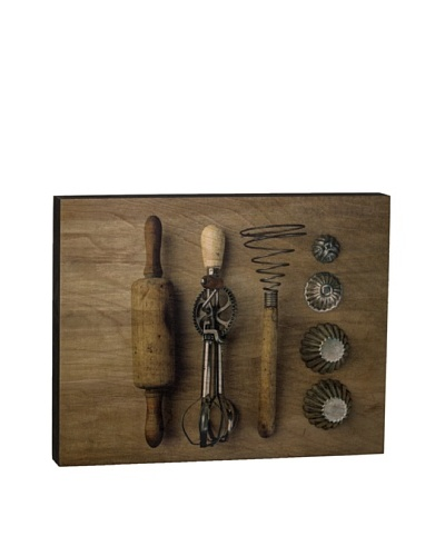 """Walnut Hollow """"Vintage Kitchen Utensils"""" Wooden Shadowbox Plaque"""