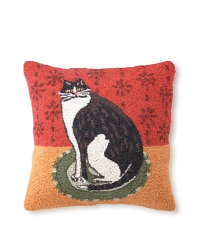 Warren Kimble Cat on a Round Rug Hook Pillow