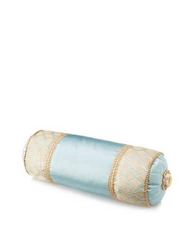 Waterford Linens Elenora Decorative Neckroll Pillow, Blue, 6 x 15