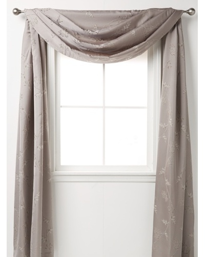 "Waterford Linens Silvie Scarf Valance, Grey, 208"" x 50"""