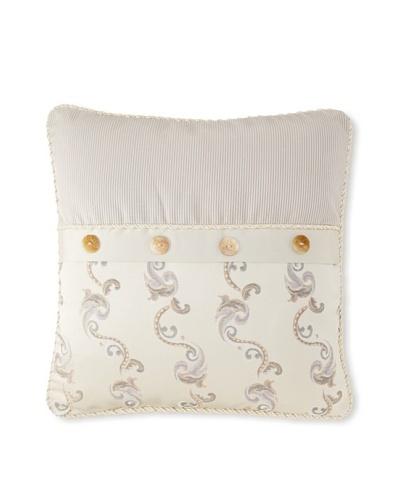 "Waterford Linens Kerrigan Decorative Pillow, Cream/Taupe, 18"" x 18"""