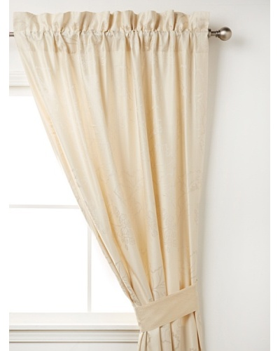 "Waterford Linens Cassidy Curtain Panel, Ecru/Grey, 50"" x 84"""
