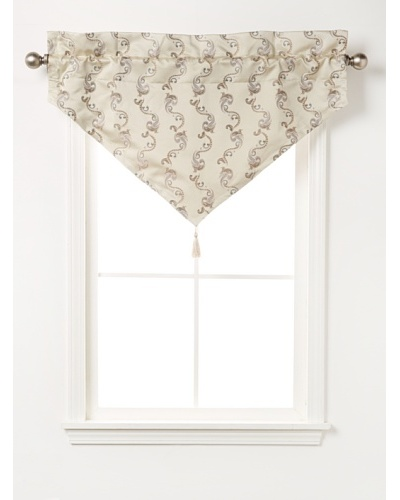 "Waterford Linens Cassidy Ascot Valance, Ecru/Grey, 40"" x 25"""