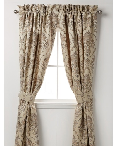 Waterford Linens Kerrigan Set of 2 Curtain Panels, Cream/Taupe, 50 x 84