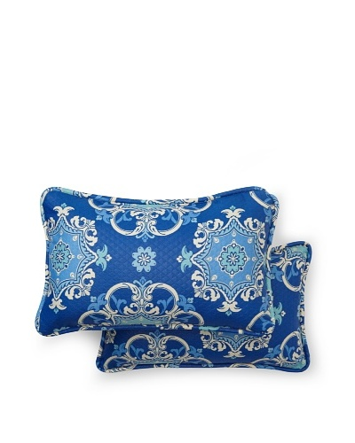 Set of 2 Garden Crest Rectangle Decorative Throw Pillows [Marine]