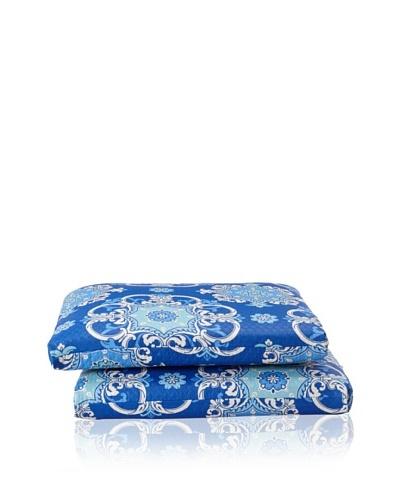 Waverly Set of 2 Sun-n-Shade Garden Crest Squared Seat Cushions [Marine]