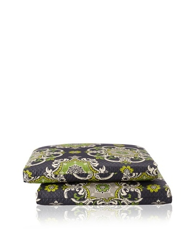 Waverly Set of 2 Sun-n-Shade Garden Crest Squared Seat Cushions [Onyx]