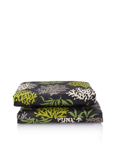 Waverly Set of 2 Sun-n-Shade Marine Life Squared Seat Cushions [Onyx]