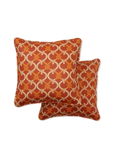 Set of 2 Heat Wave Square Decorative Throw Pillows [Mango]