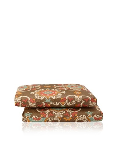 Waverly Set of 2 Sun-n-Shade Garden Crest Squared Seat Cushions [Chocolate]