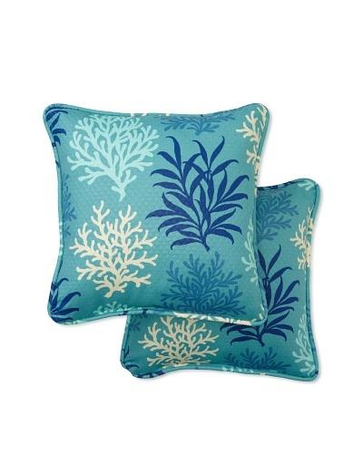 Set of 2 Marine Life Square Decorative Throw Pillows [Pool]