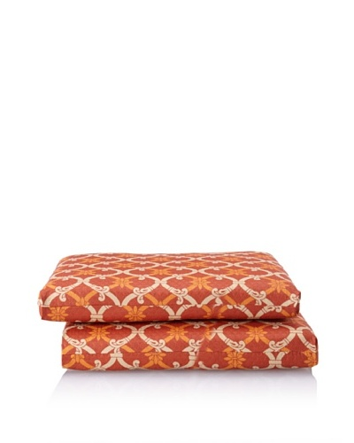 Waverly Set of 2 Sun-n-Shade Heat Wave Squared Seat Cushions [Mango]