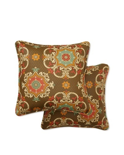 Set of 2 Garden Crest Square Decorative Throw Pillows [Chocolate]