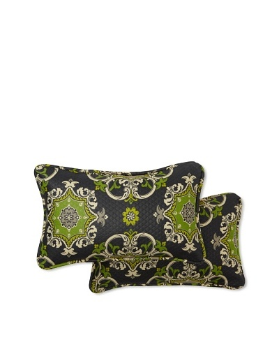 Set of 2 Garden Crest Rectangle Decorative Throw Pillows [Onyx]
