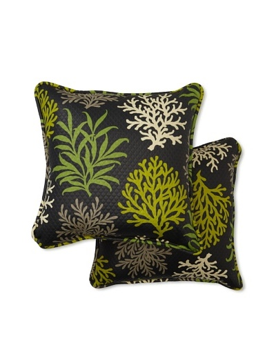 Waverly Set of 2 Sun-n-Shade Marine Life Square Decorative Throw Pillows [Onyx]