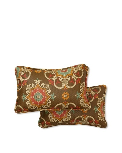 Set of 2 Garden Crest Rectangle Decorative Throw Pillows [Chocolate]