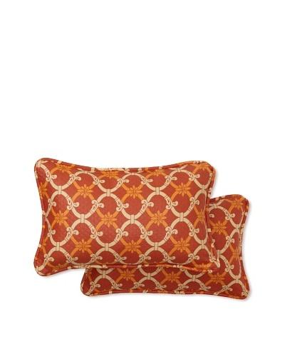 Set of 2 Heat Wave Rectangle Decorative Throw Pillows [Mango]