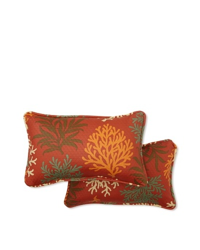 Set of 2 Marine Life Rectangle Decorative Throw Pillows [Mango]