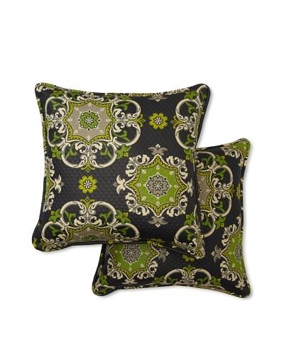 Set of 2 Garden Crest Square Decorative Throw Pillows [Onyx]
