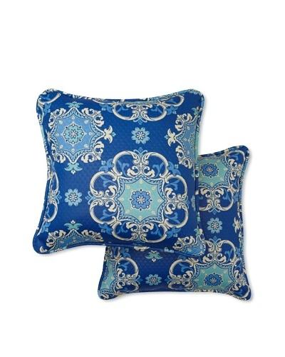 Set of 2 Garden Crest Square Decorative Throw Pillows [Marine]