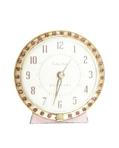 Westclox Vintage Alarm Clock, Pink/White
