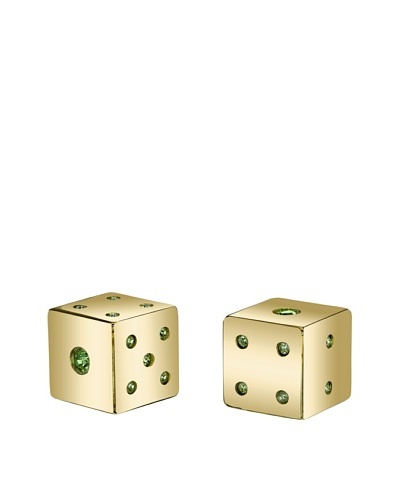 Wilouby Gold-Tone Lucky Dice Dice Pair with Swarovski Crystals