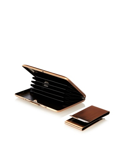 Wilouby Double-Sided Money Clip/Business Card Case Gift Set, Rose Gold