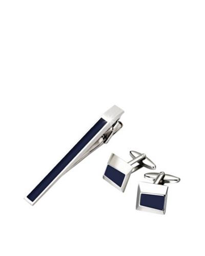 Wilouby Embossed Gunmetal Tie Clip & Cufflink Gift Set