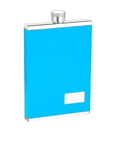 Wilouby 3 oz. Slimline Flask with Neon Blue Italian Genuine Leather