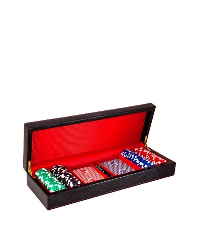 Wilouby Travel Poker Set with 2 Decks of Cards, Dice & Chips, Black/Red