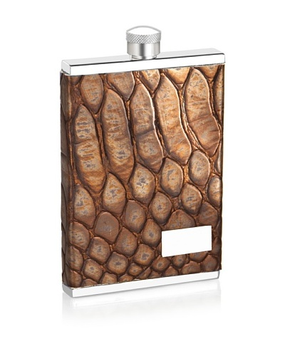 Wilouby 3 oz. Slimline Flask with Metallic Brown Italian Genuine Leather