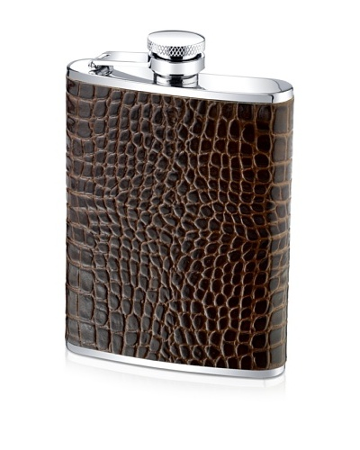Wilouby 6-Oz. Genuine Leather Croc Print Flask, Brown