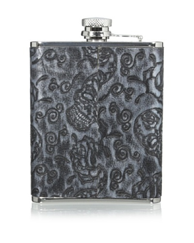 Wilouby Leather Skull & Roses 6-Oz. Flask