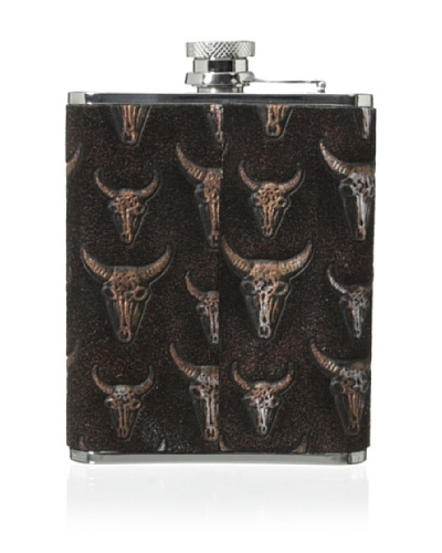 Wilouby Leather Horn Heads 6-Oz. Flask