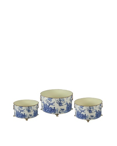 Winward Set of 3 Country Toile Planters
