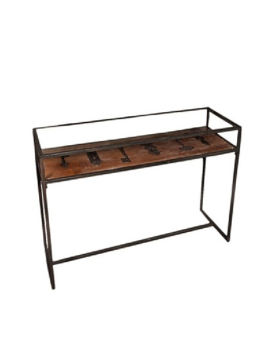 Winward Maverick Iron Console Table With Key, Brown