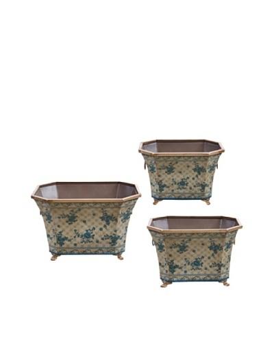 Winward Set of 3 Rose Trellis Flared Planters, Blue/White