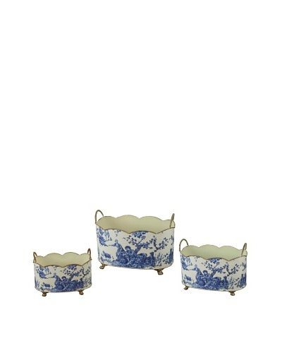 Winward Set of 3 Country Toile Wavy Tins