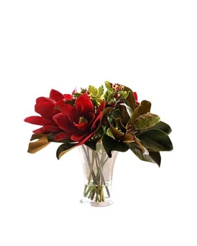 Winward Magnolias In Flared Glass Vase