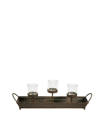 Winward Woven Metal Votive Centerpiece