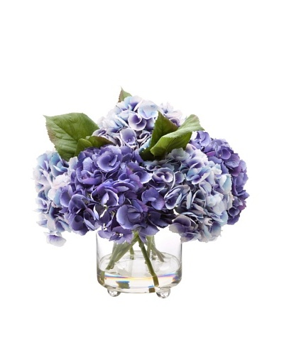 14.5 Hydrangea in Glass Vase, Blue/Purple