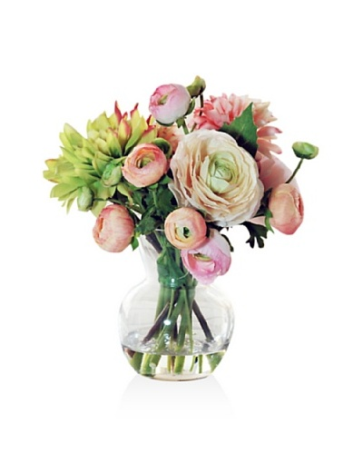 Winward Dahlia/Ranunculus In Glass, Pink/Green, 11