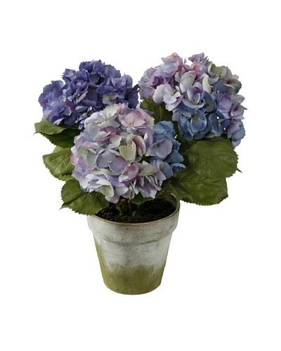 Winward Three Potted Faux Hydrangea Stems, Purple/Green