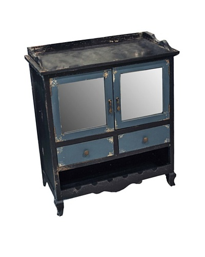 Winward Main Street Distressed Wood Cabinet, Black Blue