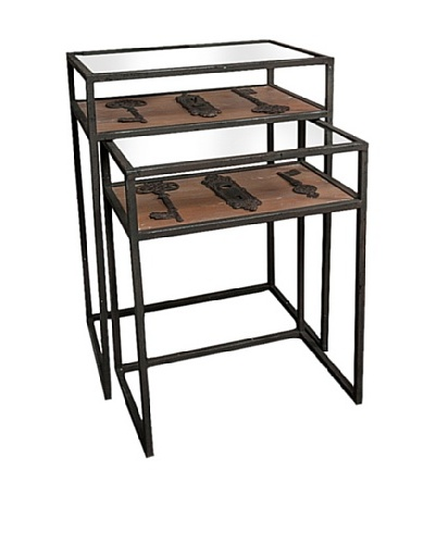 Winward Set of 2 Maverick Iron Accent Tables with Keys, Black