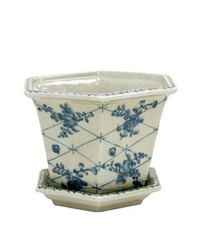 Winward Pot Cache Rose Trellis, Blue/White