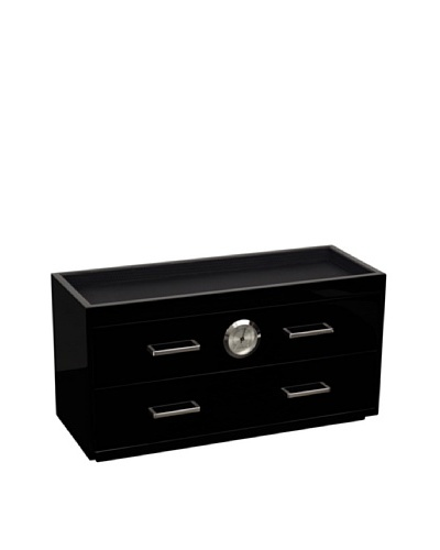Wolf Designs Two Drawer Humidor, Black Lacquer