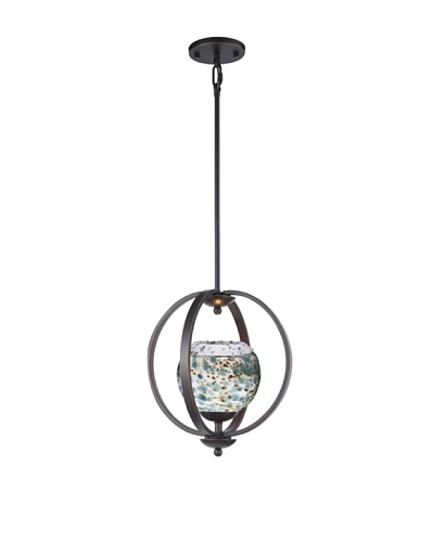 Woodbridge Lighting Geo 1-Light Medium Pendant, Metallic Bronze/Deep Green