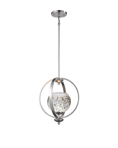 Woodbridge Lighting Geo 1-Light Medium Pendant, Satin Nickel/Cobalt