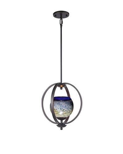 Woodbridge Lighting Geo 1-Light Medium Pendant, Metallic Bronze/Cobalt/Mint